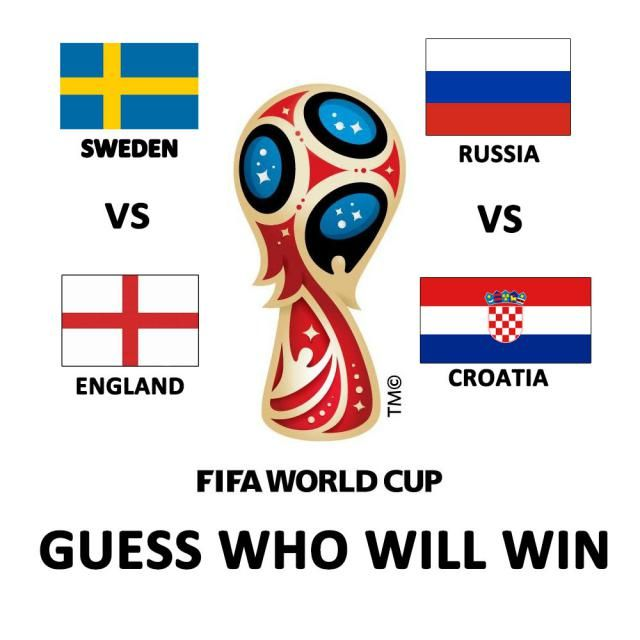 Sweden vs. England, Russia vs. Croatia on July 7th! This Saturday!