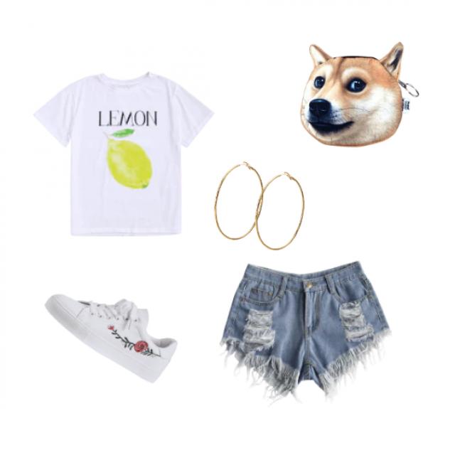"""White """"LEMON"""" t-shirt, white rose sneakers, frayed jean shorts, gold hoops, dog meme handbag"""
