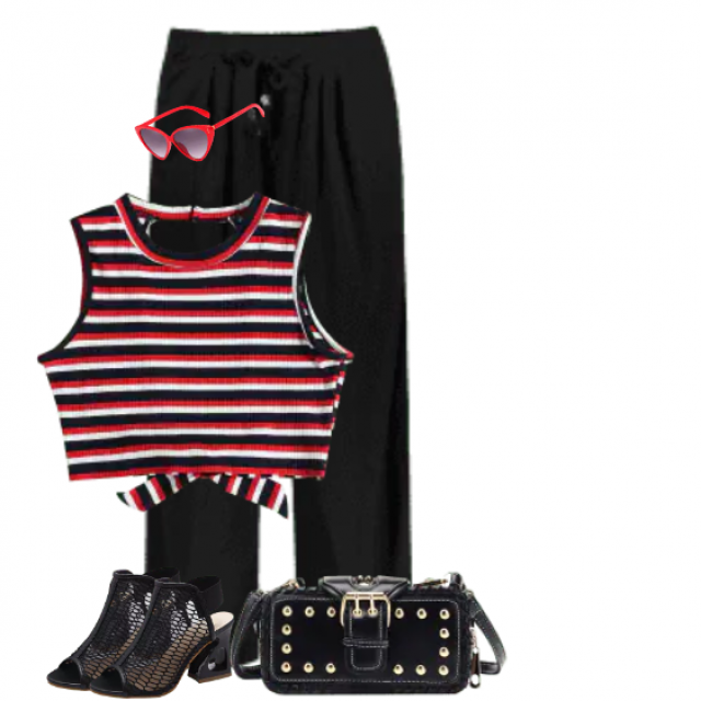 Lovely combo with a striped top and matching red sunglasses