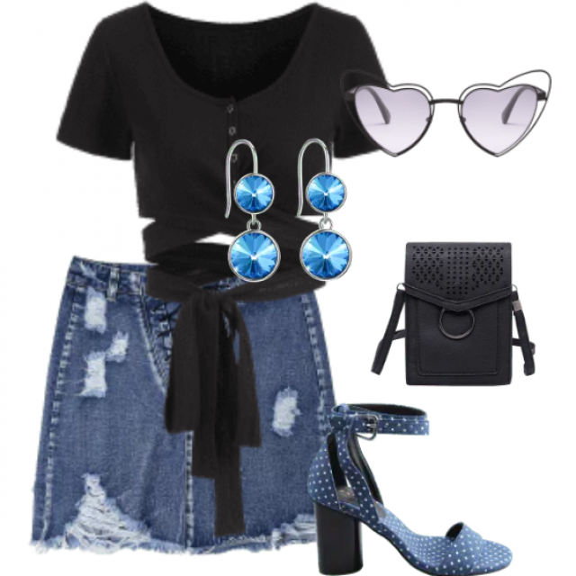 Casual look ,denim skirt and black top