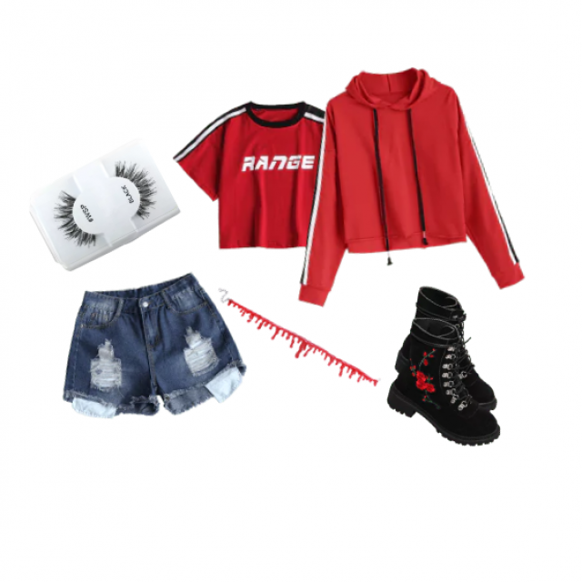 "False lashes, ripped blue jean shorts, red ""RANGE"" t-shirt, red striped hoodie, re drip choker, black rose em…"