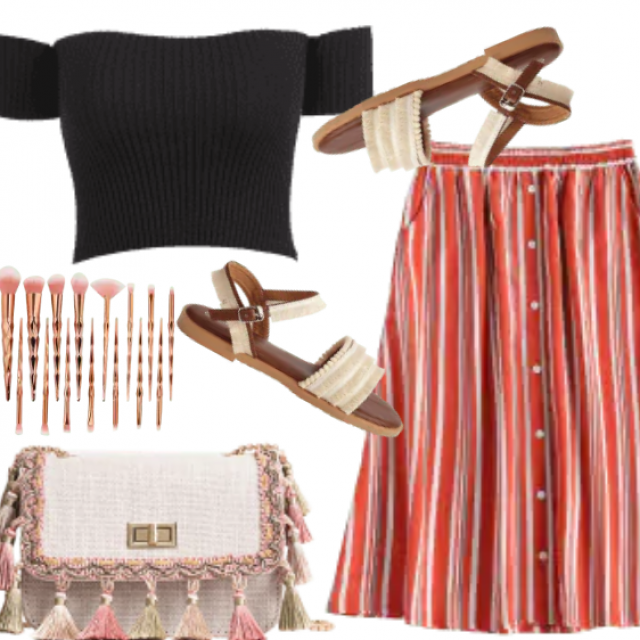 This casual skirt features a flattering high waistline with an elastic style, allover contrasting striped pattern, and …