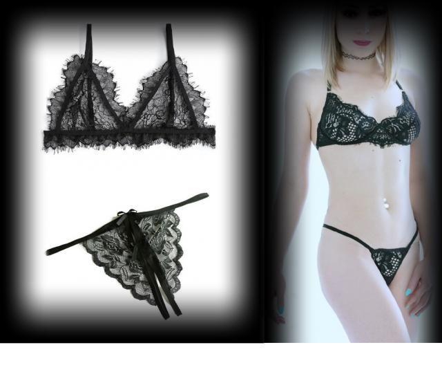 Evynne Labeau models cute Zaful initmates black  eyelash bra and panty sey