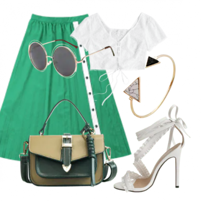 Fashion style, perfect maxi skirt and white top for all occassions