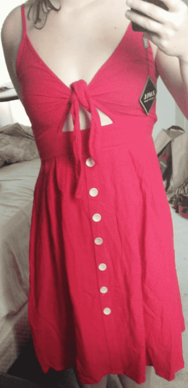 this dress is really super cute and fits well. the straps were a bit to big for me but I sewed it and it's perfect