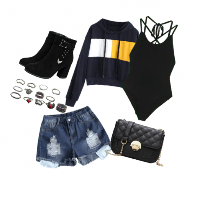 Short black boots, multiple assorted rings, ripped jean shorts, dark blue hoodie with yellow and white squares, black b…