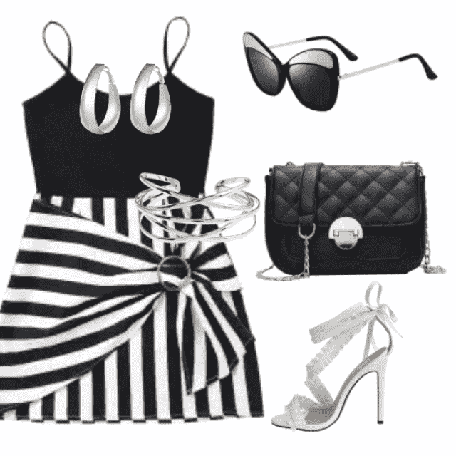 Trendy striped dress for day and going out