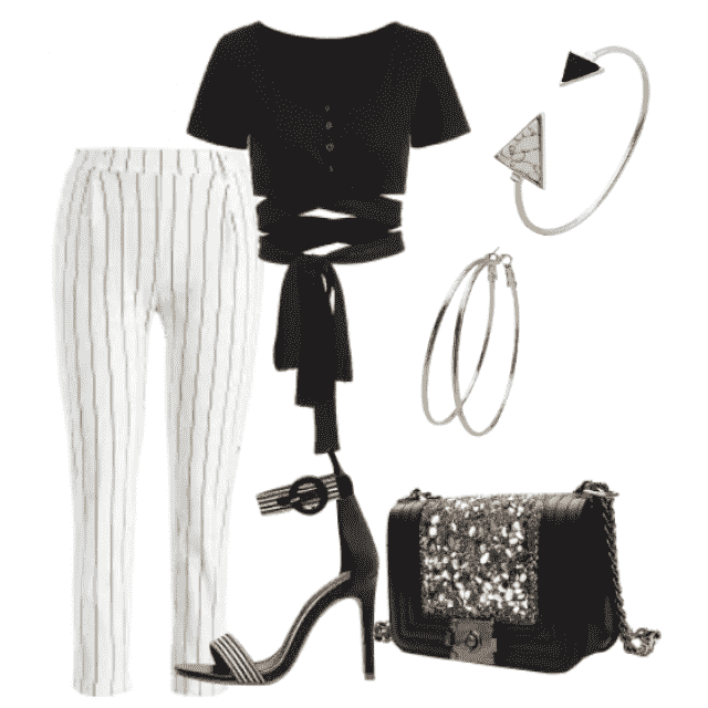 Stylish look, pants and black top for office and to go out