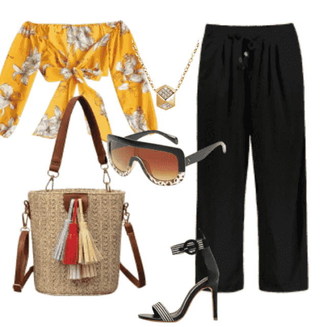 Beautiful trendy blouses and elastic black pants are a great blend