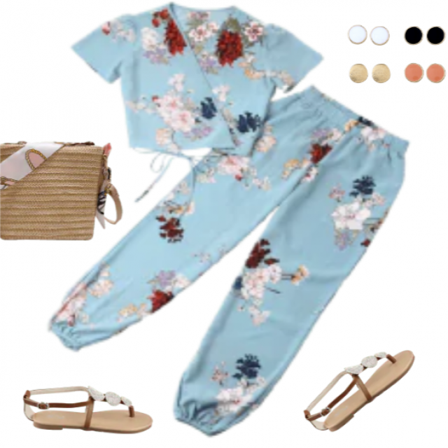Great look, blue outfit, floral prints....