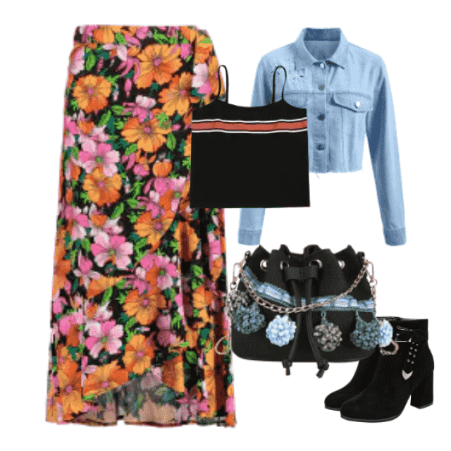 Nice floral skirt and denim jacket for spring and autumn