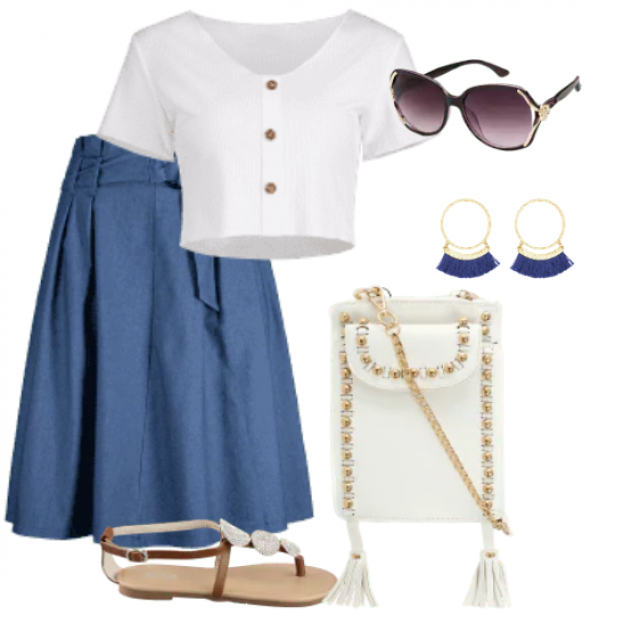 Beautiful casual skirt and white top for relaxed look
