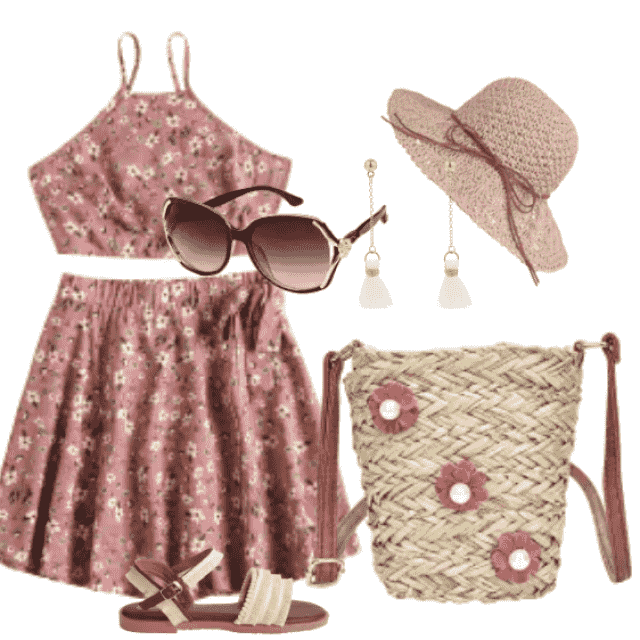 A beautiful floral skirt set for beach walking and daily going out