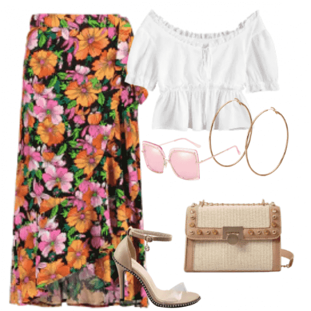 Elegant style,floral skirt and white top for  going out
