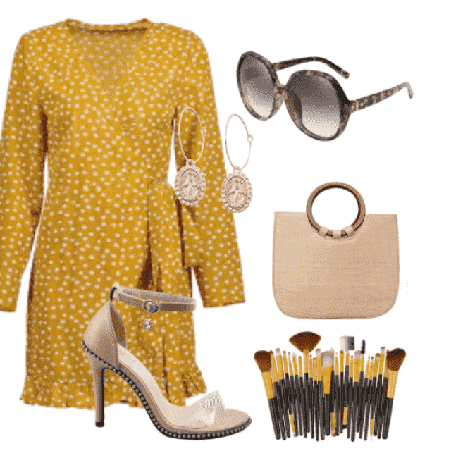 Casual polka dot yellow dress  going out