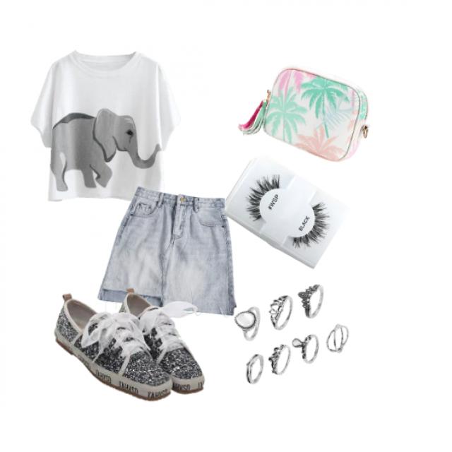 Elephant print tee, light denim jean skirt, gray mesh shoes, palm tree hand bag, false lashes, multiple silver rings  …