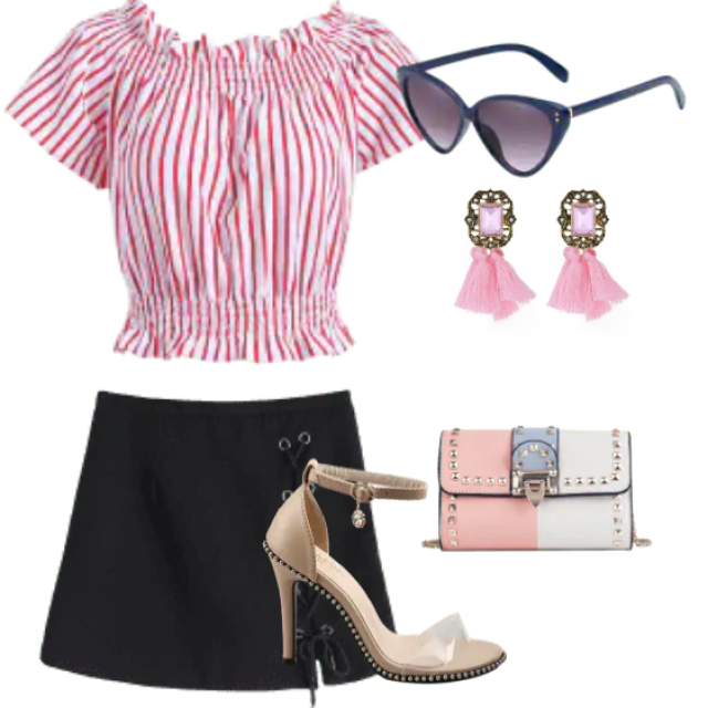 Striped top and black skirt for going out