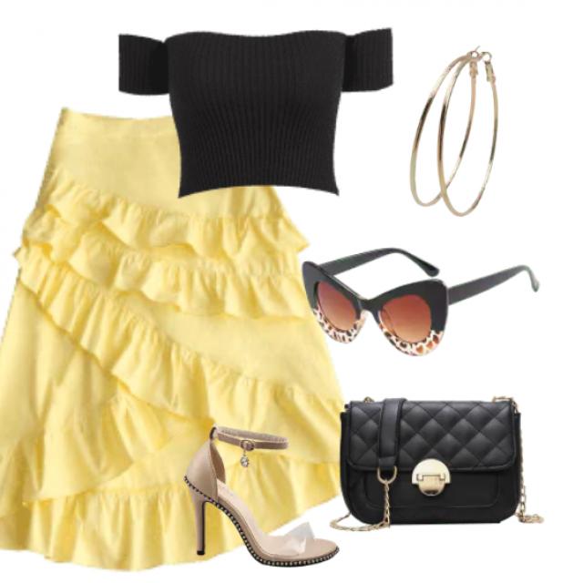 Cute midi skirt and black top for elegant look