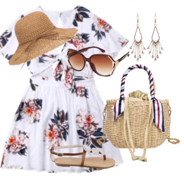 Cute mini dress for beach and sea walking