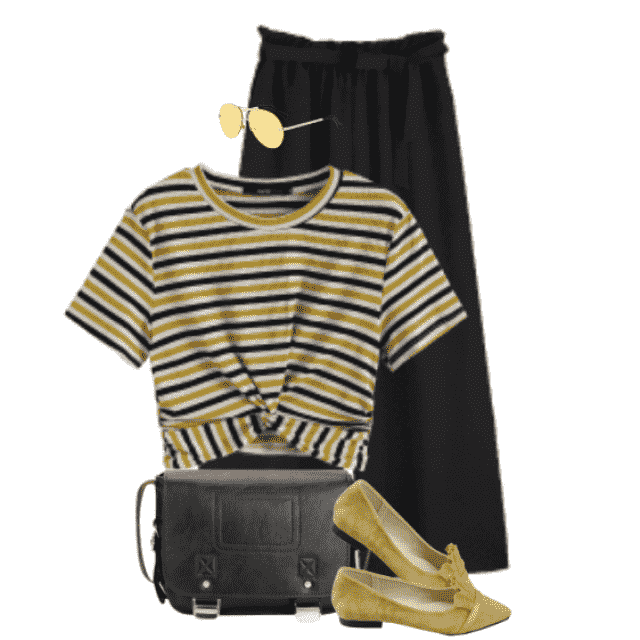 Trendy casual style with a striped top and black pants