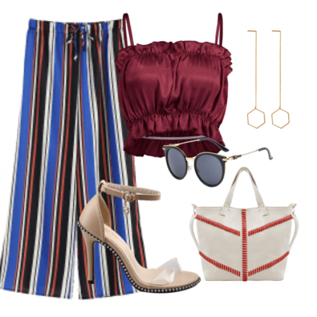 Perfect striped pants and wine red top for summer day