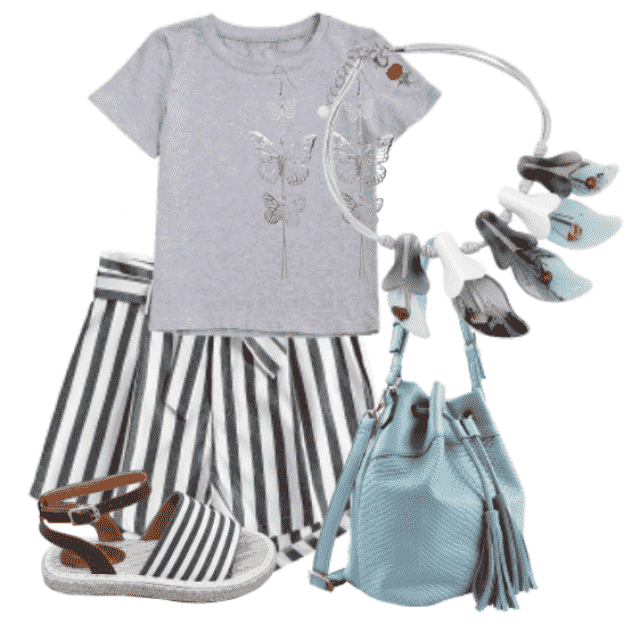 Stripes Belted Shorts and gray tshirt for casuall look     jewelry