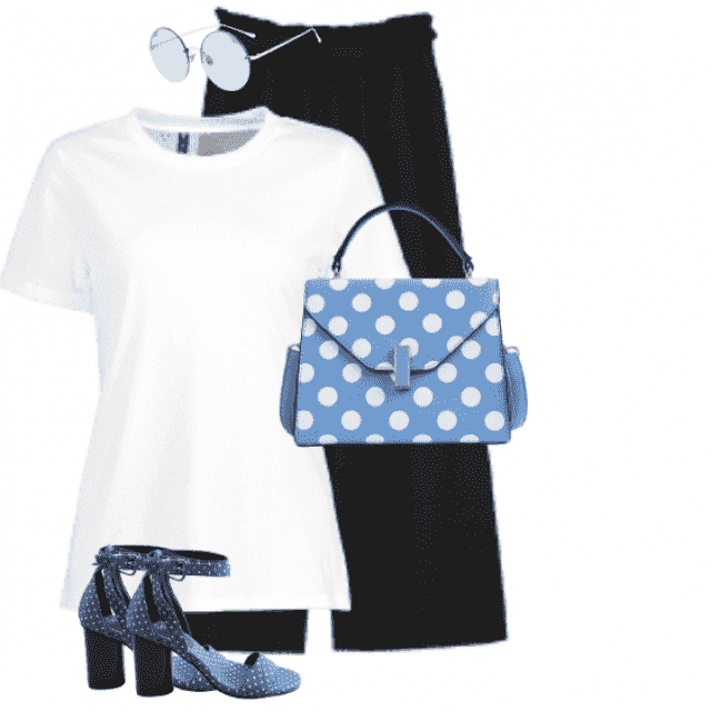 Lovely casual style with a white shirt and black pants in combo with the dotted shoes and bag