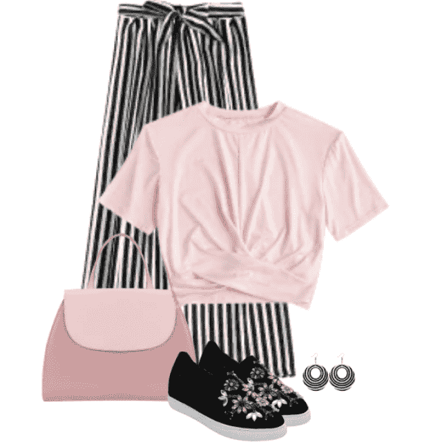 Beautiful casual outfit with a striped pants and pink top
