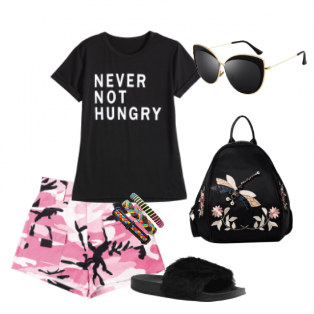Casual style with camouflage shorts and black T-shirt