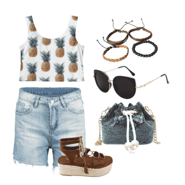 Trendy look,denim shorts and pineapple print cropped tank top