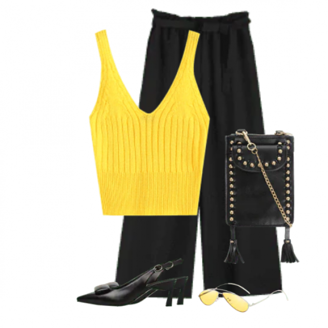 Fancy style with black pants and a yellow stylish top