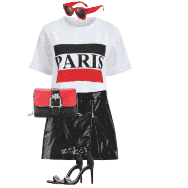 "So trendy and sexy look with the black skirt and the printed ""Paris"" on the shirt"