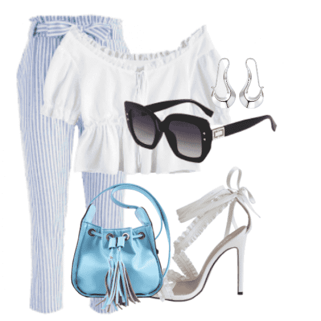 Beautiful belted striped pants and white top for summer and fall