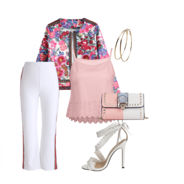 Casual style,white pants and floral top perfect combination