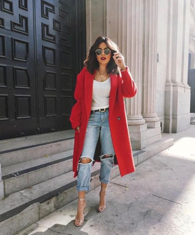 For a work outfit, coordinate a ripped jeans and white shirt with your favorite red coat