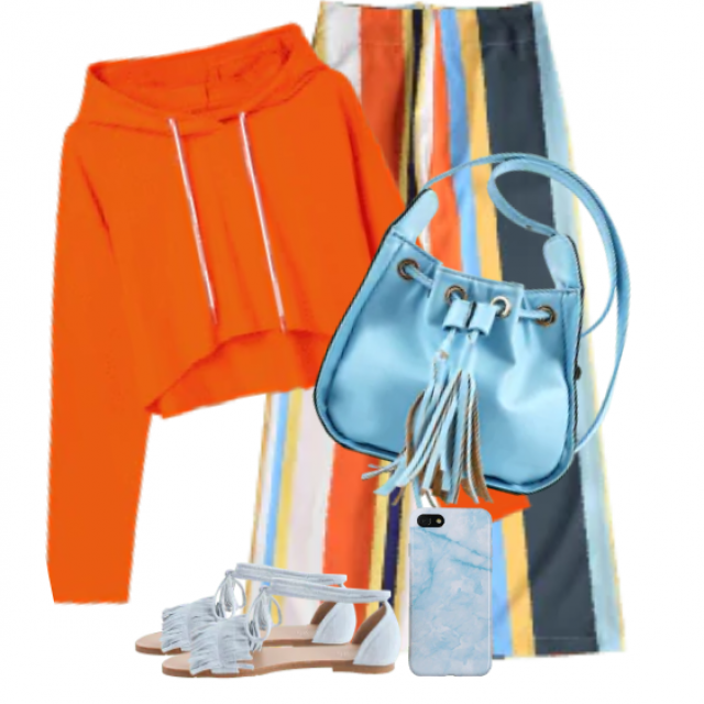 Gorgeous and colourful style with striped pants and an orange hoodie