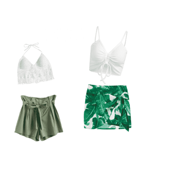 Casual fit and a more formal fit; both green. one shorts, one skirt :)