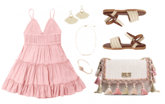 Pair a flowy pink dress with neutrals and tassels for a chic bohemian outfit that's sure to give off