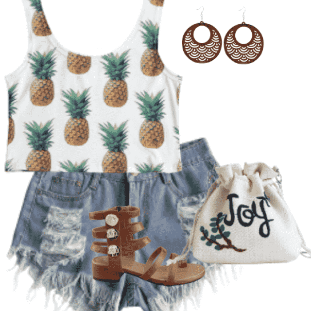 Trendy style ,denim shorts and top