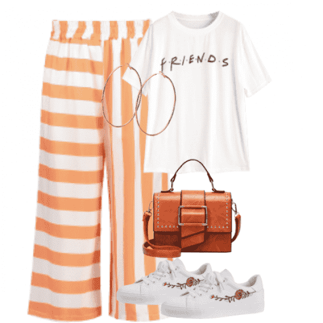 We follow fashion trend with striped pants and white t-shirts
