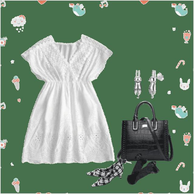 White dress and black bag