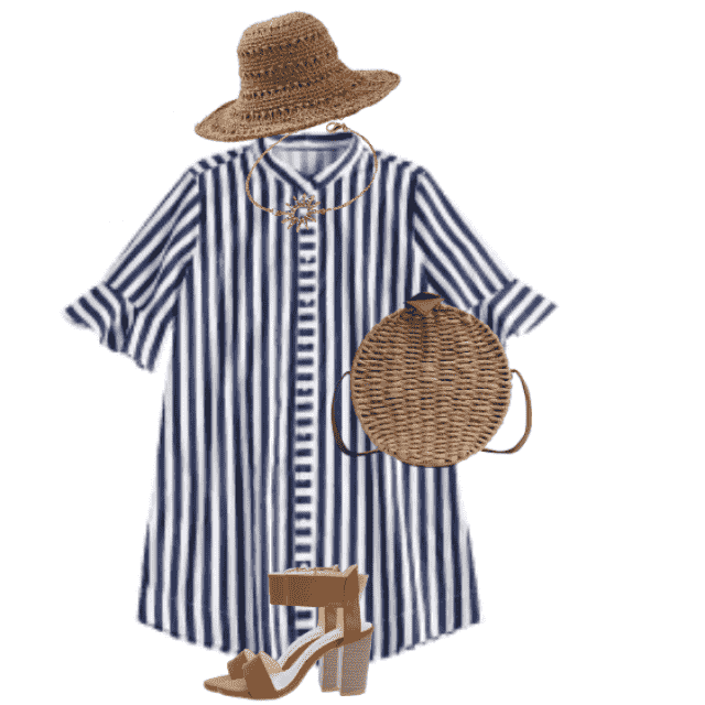 Beautiful striped summerdress -  looks fabulous with a strawhat and strawbag