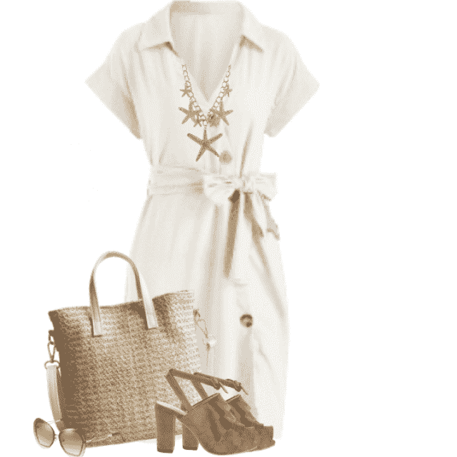 Beautiful white summerdress in great combo with the bag and the sandals