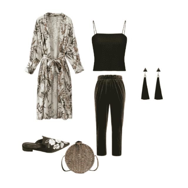 El Kimono, una pieza versátil y muy trendy .Puedes llevarlo en tonos neutros o estampados florales, evocando así un ver…