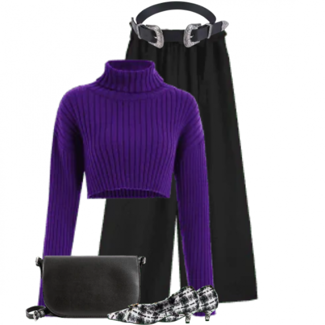 Gorgeous combo with a knitted sweater and black pants