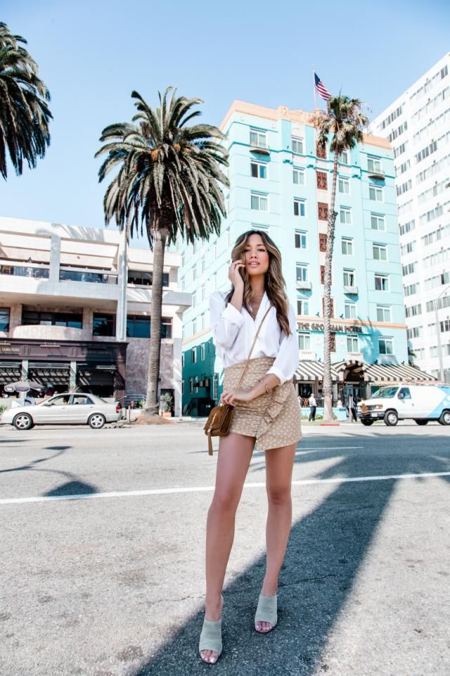 Flowy Polka Dot Ruffled Skorts And White Shirt