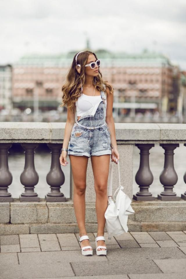 Denim Shorts And Crop Top