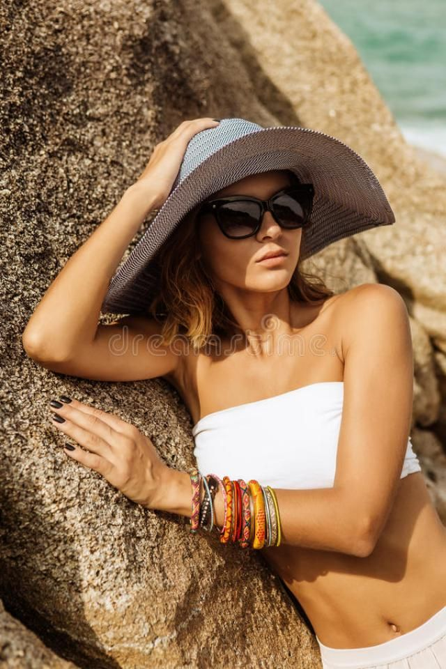 Pretty Lady In Summer Outfit On The Beach...