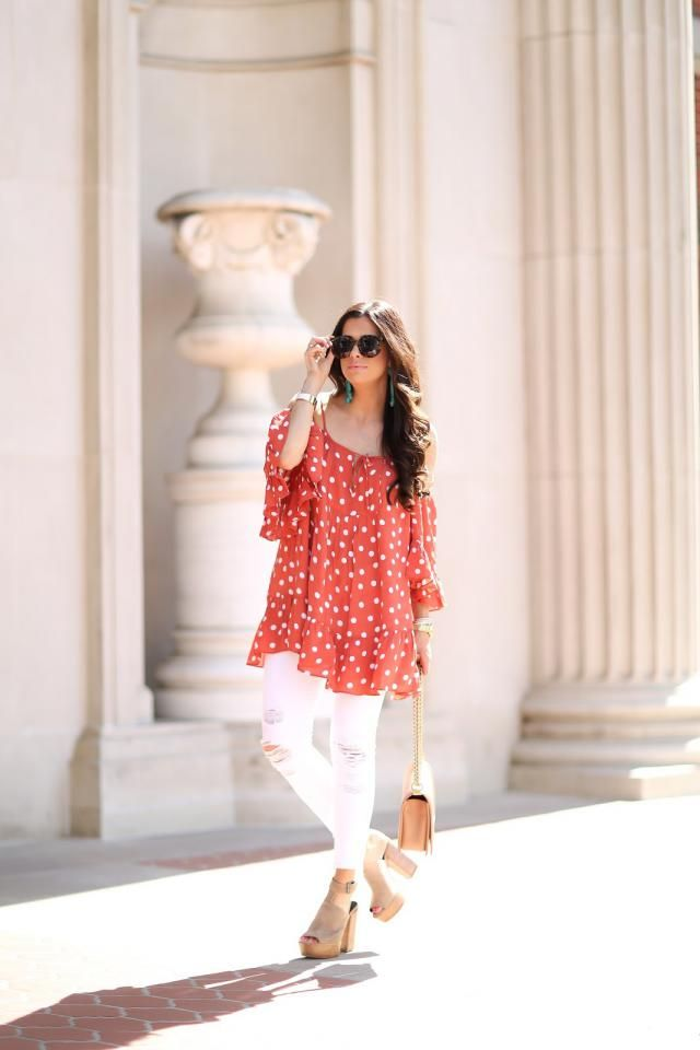 Red Tunic And Jeans Pants