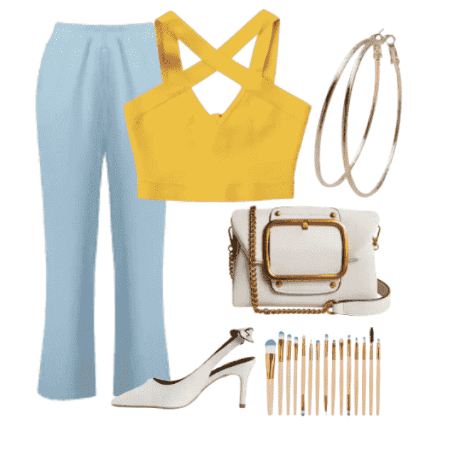 Fashion style,modern pants with perfect yellow top
